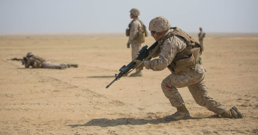 Marines with Combat Logistics Battalion 11, 11th Marine Expeditionary Unit, conduct live-fire, fire and movement drills near Camp Beuhring, Kuwait, March 5, 2017, photo by Sgt. Xzavior McNeal/U.S. Marine Corps photo