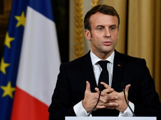 French President Emmanuel Macron gives a news conference after a meeting with NATO Secretary General Jens Stoltenberg in Paris, France, November 28, 2019, photo by Bertrand Guay/Pool/Reuters