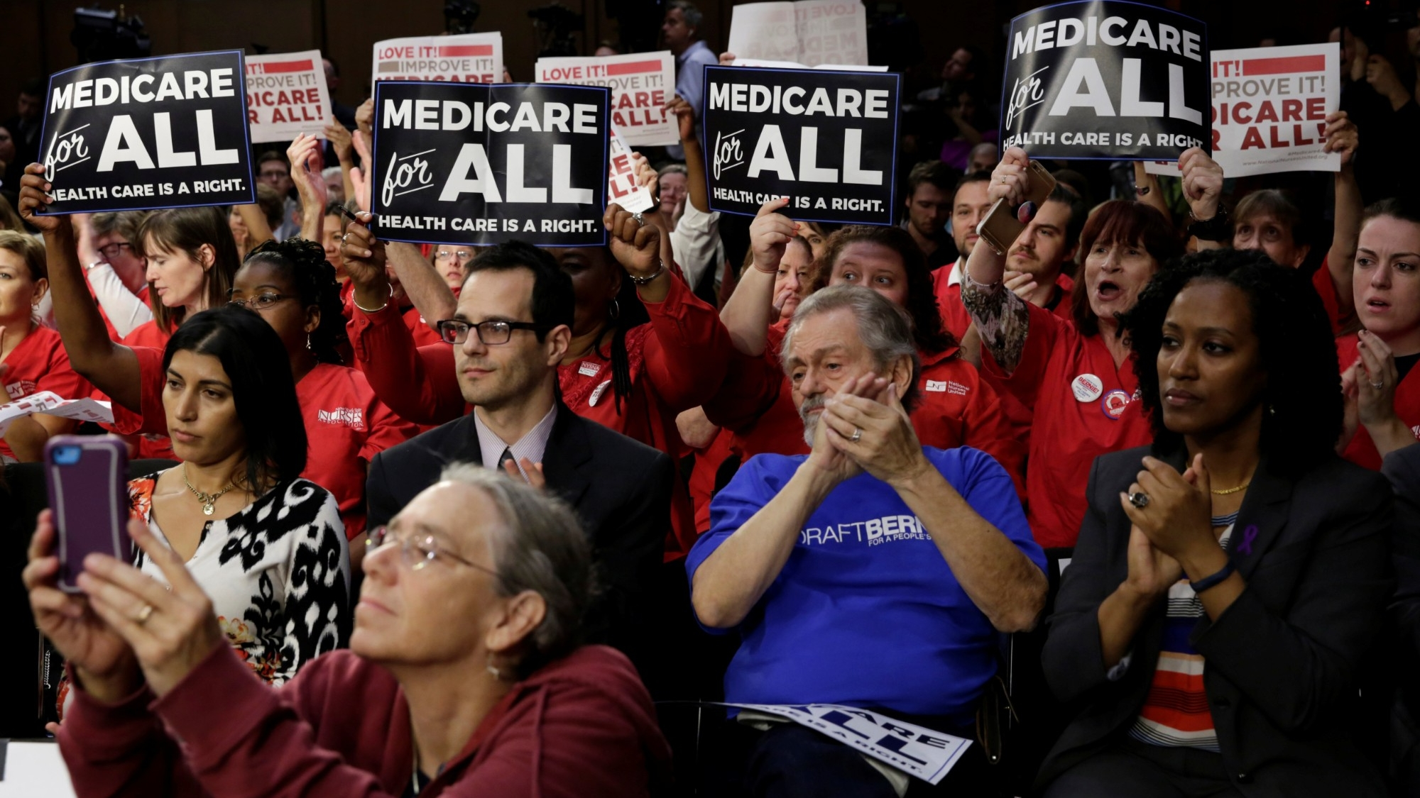 "Supporters of a ""Medicare for All"" plan gather on Capitol Hill in Washington, D.C., September 13, 2017, photo by Yuri Gripas/Reuters"