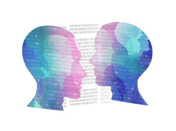 Two digital faces facing each other, photo by wildpixel/Getty Images