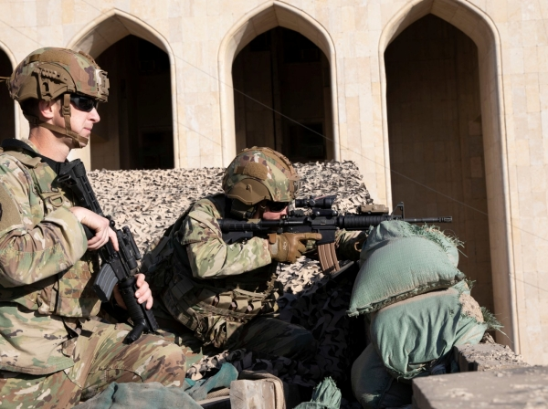 U.S. Army soldiers man a defensive position at Forward Operating Base Union III in Baghdad, Iraq, December 31, 2019, photo by Maj. Charlie Dietz/Task Force-Iraq Public Affairs Handout via Reuters