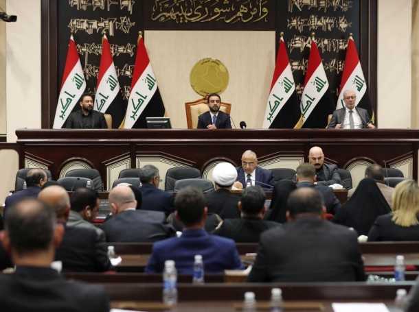 Following the killing of Iranian General Qassem Soleimani, members of Iraq's parliament voted to expel American soldiers from Iraq, January 5, 2020, photo by Iraqi Parliament Media Office/Handout via Reuters