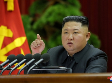 North Korean leader Kim Jong Un speaks during the 5th Plenary Meeting of the 7th Central Committee of the Workers' Party of Korea (WPK) in this undated photo released on December 28, 2019, photo by KCNA/Reuters