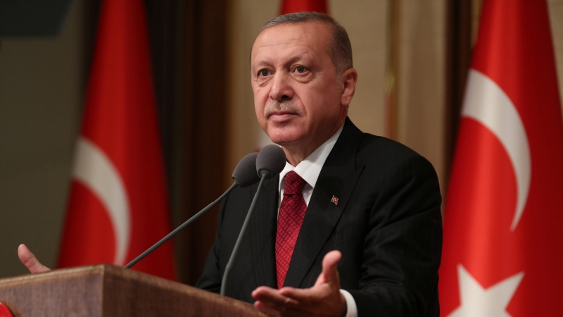 Turkish President Recep Tayyip Erdoğan speaks during a ceremony marking the second anniversary of the attempted coup at the presidential palace in Ankara, July 15, 2018, photo by Umit Bektas/Reuters
