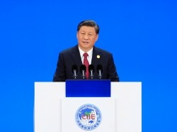 Chinese President Xi Jinping speaks at the opening ceremony of the second China International Import Expo (CIIE) in Shanghai, China, November 5, 2019, photo by Aly Song/Reuters