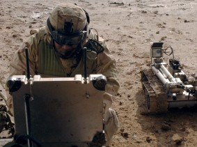 Robot Detection U.S. Air Force Airman Gevoyd Little operates his remote explosive detection robot during Operation Falcon Sweep in the Village of Shakaria, Iraq, Jan. 11, 2006, photo by Kevin L. Moses Sr./U.S. Air Force