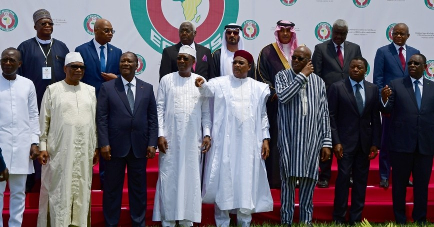 West African leaders and officials stand for a family photo at the ECOWAS extraordinary summit on terrorism in Ouagadougou, Burkina Faso, September 14, 2019 photo by Anne Mimault/Reuters