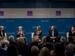 "Panelists discuss how media organizations can help address ""Truth Decay,"" the diminishing role of facts and analysis in American public life, at the RAND Corporation office in Santa Monica, CA, February 25, 2020, photo by Diane Baldwin/RAND Corporation"