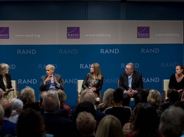 """Panelists discuss how media organizations can help address """"Truth Decay,"""" the diminishing role of facts and analysis in American public life, at the RAND Corporation office in Santa Monica, CA, February 25, 2020, photo by Diane Baldwin/RAND Corporation"""