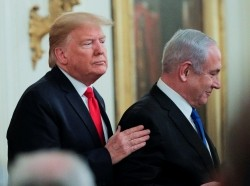 President Trump and Israel's Prime Minister Netanyahu hold a joint news conference to discuss the Peace to Prosperity proposal in Washington, January 28, 2020, photo by Brendan McDermid/Reuters