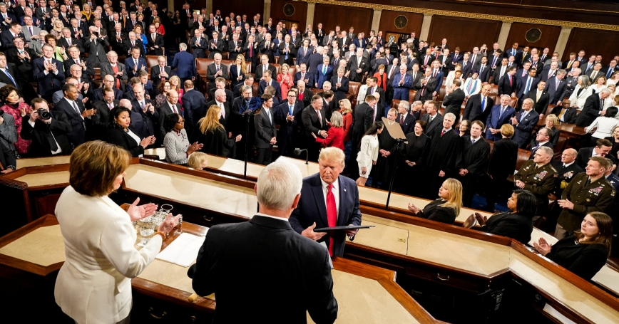 U.S. President Donald Trump prepares to deliver his third State of the Union address in Washington, D.C., February 4, 2020, photo by Doug Mills/Pool via Reuters