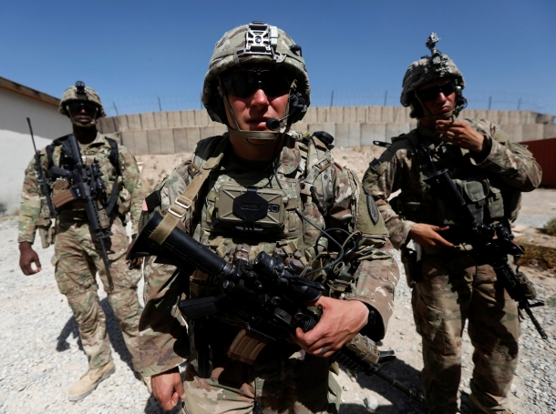 U.S. troops patrol at an Afghan National Army base in Logar province, Afghanistan, August 7, 2018, photo by Omar Sobhani/Reuters