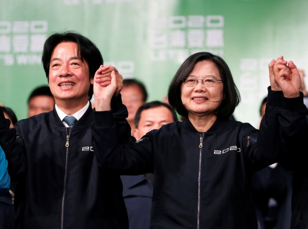 Taiwan Vice President-elect William Lai and incumbent Taiwan President Tsai Ing-wen celebrate at a rally after their election victory in Taipei, Taiwan, January 11, 2020, photo by Tyrone Siu/Reuters