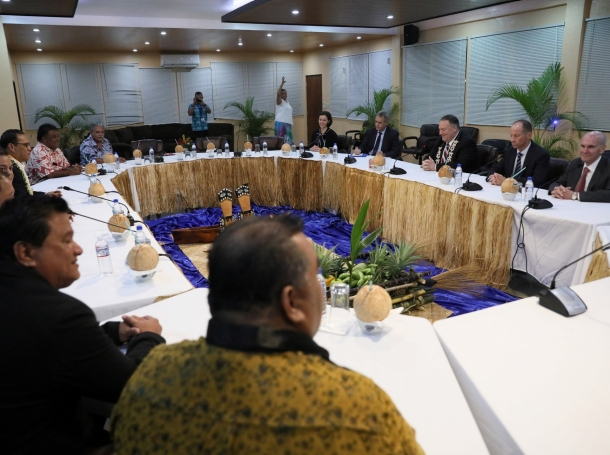 U.S. Secretary of State Mike Pompeo meets with members of the Federated States of Micronesia Congress in Kolonia, Micronesia, August 5, 2019, photo by Jonathan Ernst/Reuters