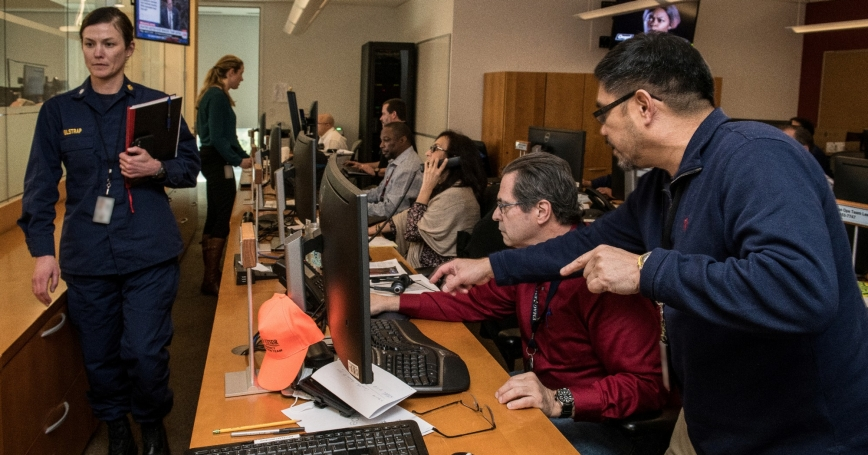 CDC staff support the COVID-19 (novel coronavirus) response in the their Emergency Operations Center in Atlanta, Georgia, March 10, 2020, photo by James Gathany/CDC/Reuters