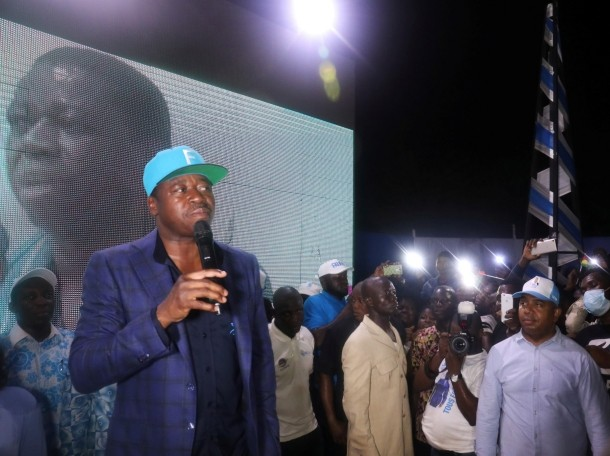 President Faure Gnassingbe and Presidential candidate of UNIR (Union for the Republic) winner of the presidential election speaks in front of his supporters at his headquarters in Lome, Togo, February 24, 2020, photo by Luc Gnago/Reuters