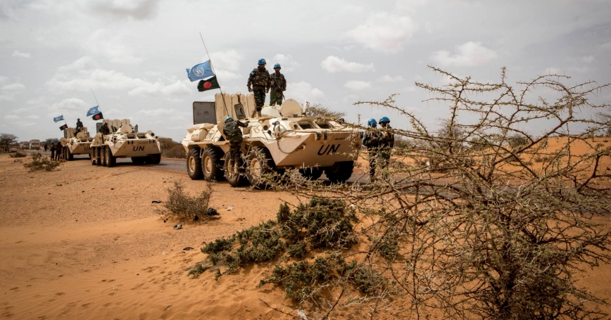 """MINUSMA Peacekeepers, during Operation Military 'FRELANA' to protect civilians and their property in Gao, Mali, July 11-12, 2017, <a h ref=""""https://www.flickr.com/photos/minusma/35834311872/in/album-72157683673223484/"""">photo</a> by Harandane Dicko/<a href=""""https://creativecommons.org/licenses/by-nc-sa/2.0/"""">CC BY-NC-SA 2.0</a>"""