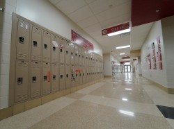 Hallways are empty during school closures in an effort to curb the spread of the coronavirus, in Milton-Union Exempted Village School District in West Milton, Ohio, March 13, 2020, photo by Kyle Grillot/Reuters