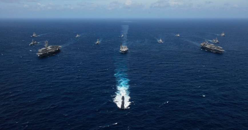 Naval ships from India, Australia, Japan, Singapore, and the United States steam in formation in the Bay of Bengal during Exercise Malabar, September 5, 2007, photo by MCSN Stephen Rowe/U.S. Navy