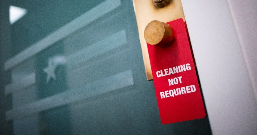 A sign hangs on a door stating that it does not need to be cleaned, in the U.S. Capitol in Washington, U.S., March 24, 2020, photo by Alexander Drago/Reuters