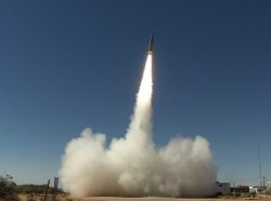 A Sabre short-range ballistic missile launches in June 2017 at White Sands Missile Range, New Mexico, for a test of the Patriot Advanced Capability-3 (PAC-3) Missile Segment Enhancement, an advanced missile defense system, photo by U.S. Army