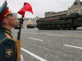 A Yars RS-24 intercontinental ballistic missile system in Red Square in Moscow, Russia, September 5, 2017, photo by Yuri Kochetkov/Reuters