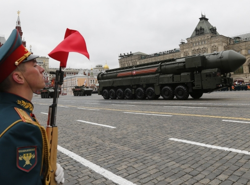 A Yars RS-24 intercontinental ballistic missile system in Red Square in Moscow, Russia, September 5, 2017