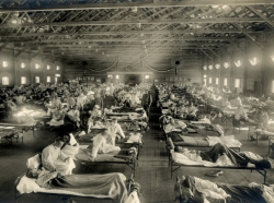 Soldiers at Camp Funston, Kansas, are quarantined while recovering from the Spanish flu in 1918, photo by National Guard Bureau