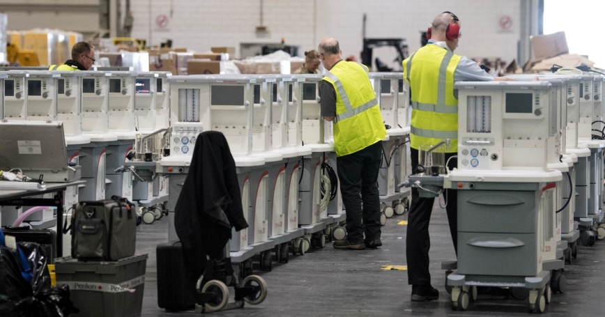 Ventilators are stored and ready to be used at ExCel London, during its conversion into the temporary NHS Nightingale Hospital to help tackle the COVID-19 outbreak, in London, U.K., March 31, 2020, photo by Stefan Rousseau/Reuters