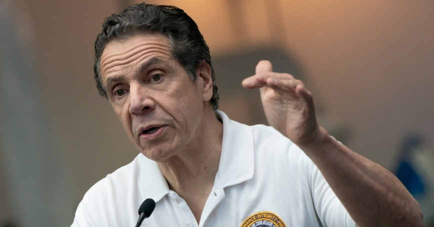 New York Governor Andrew Cuomo speaks during a COVID-19 news conference at the Javits Center, New York City, March 27, 2020, photo by Jeenah Moon/Reuters