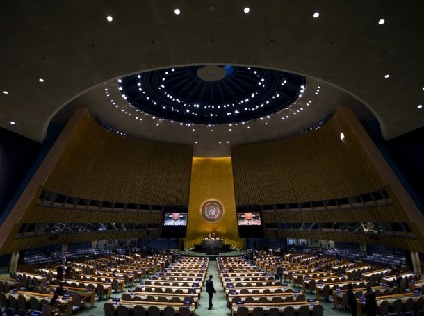 The General Assembly Hall at the United Nations headquarters in New York City, September 18, 2015. photo by Mike Segar/Reuters
