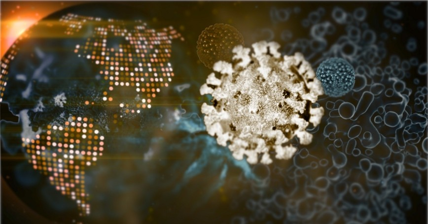 Polygonal image of COVID-19 virus superimposed on a digital world map, photo by Andrii Pokliatskyi/Getty Images