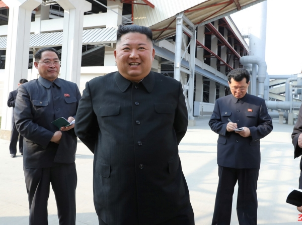Kim Jong-un attends the completion of a fertilizer plant north of Pyongyang, in this image released by KCNA on May 2, 2020, photo by KCNA/Reuters