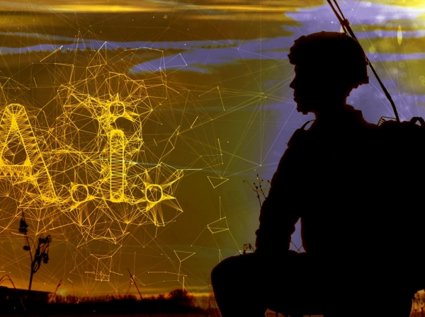 Silhouette of a soldier wearing equipment with A.I. on the horizon, photo by U.S. Army