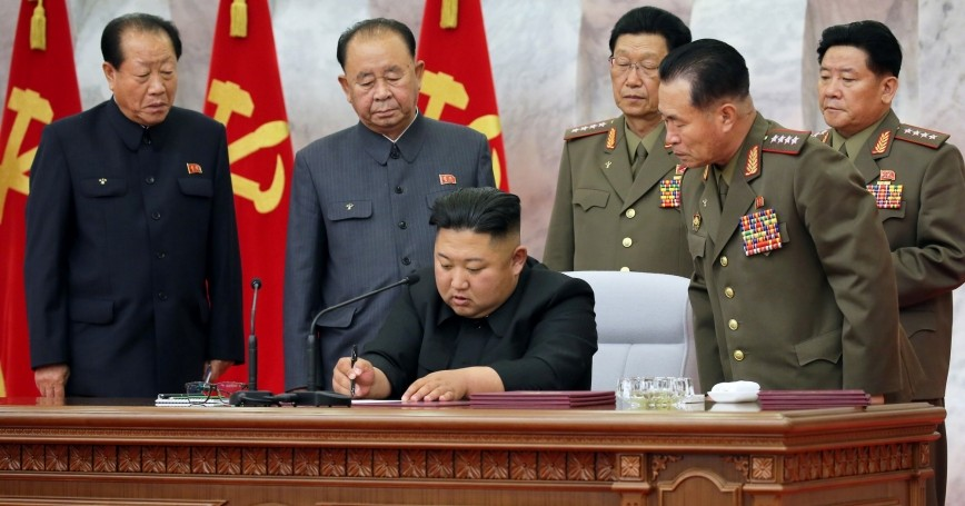North Korean leader Kim Jong Un presides over a meeting of the Workers' Party of Korea Central Military Commission, May 24, 2020, photo by KCNA/Reuters