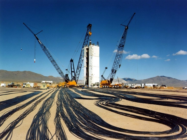Signal cables are laid out at a test location on Yucca Flat, the principal underground nuclear weapons testing area at the Nevada Test Site, in the 1990s, photo courtesy of National Nuclear Security Administration/Nevada Field Office