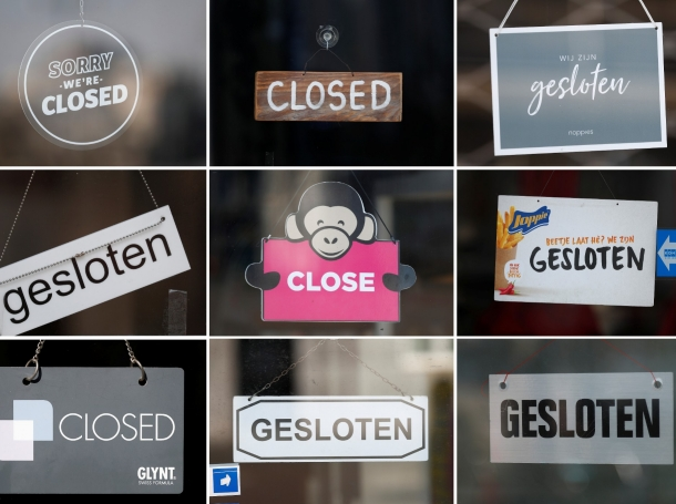 A compilation of signs on doors of temporarily closed restaurants and shops in central Maastricht, Netherlands, March 16, 2020, photo by Francois Lenoir/Reuters