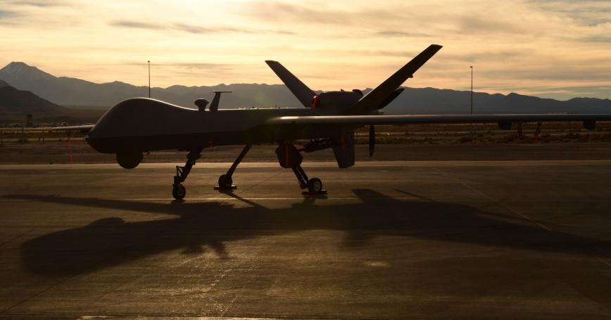 An Air Force MQ-9 Reaper unmanned aircraft awaits maintenance at Creech Air Force Base, Nevada, December 8, 2016, photo by Senior Airman Christian Clausen/U.S. Air Force