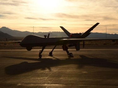 An Air Force MQ-9 Reaper unmanned aircraft awaits maintenance at Creech Air Force Base, Nevada, December 8, 2016, photo by Senior Airman Christian Clausen/U.S. Air Force