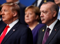 U.S. President Donald Trump and Turkey's President Tayyip Erdogan at the annual NATO heads of government summit in Watford, UK, December 4, 2019, photo by Peter Nicholls/Reuters