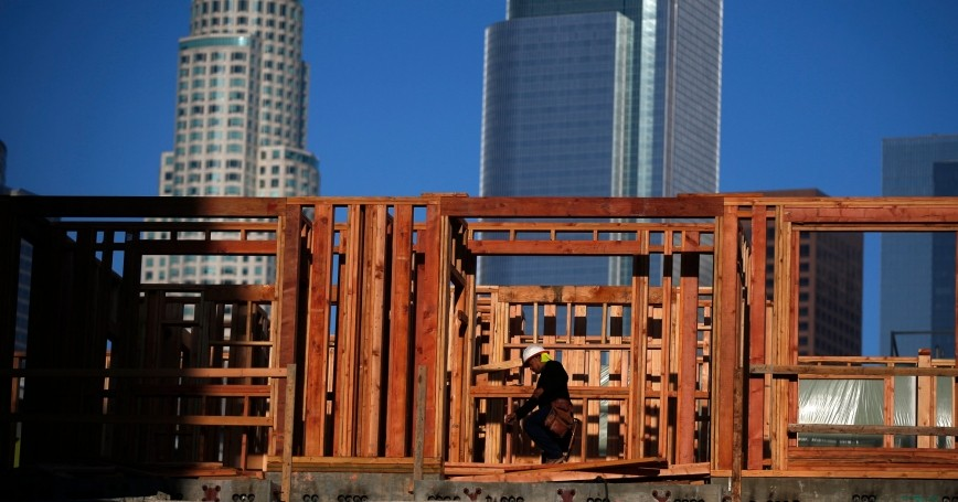 A construction worker on a building site in downtown Los Angeles, California, March 10, 2015, photo  by Lucy Nicholson/Reuters