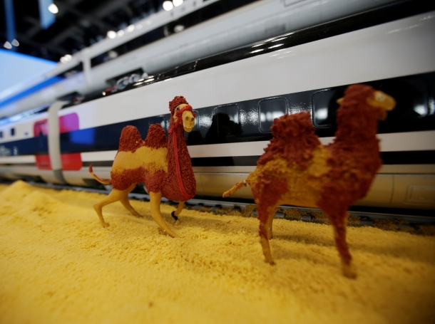 A replica of China Railway high-speed trains at a media center for the second Belt and Road Forum, in Beijing, China, April 26, 2019, photo by Jason Lee/Reuters