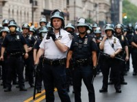 NYPD officers stand guard in Central Park during a protest against the killing of George Floyd, June 5, 2020