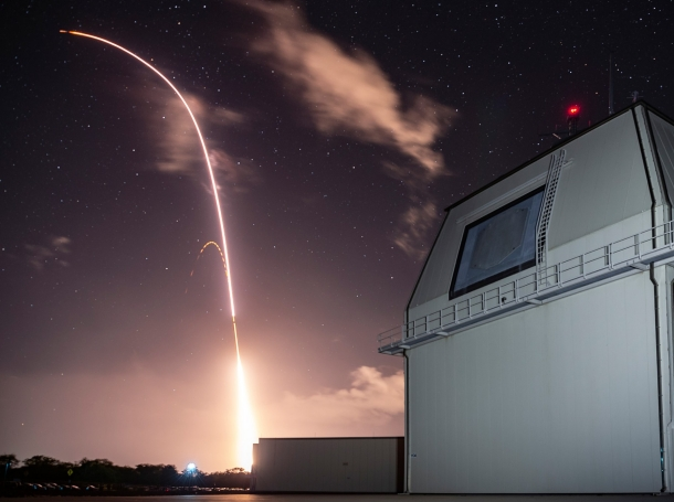 A Standard Missile (SM) 3 Block IIA is launched from the Aegis Ashore Missile Defense Test Complex at the Pacific Missile Range Facility at Kauai , HI, December. 10, 2018, photo by U.S. Army