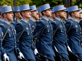 "French military academy cadets during a military parade on the Champs-&Eacute;lys&eacute;es, in Paris, France, July 14, 2007, <a href=""https://commons.wikimedia.org/wiki/File:EMIA_Bastille_Day_2007.jpg"">photo</a> by Marie-Lan Nguyen/<a href=""https://creativecommons.org/licenses/by/2.5/deed.en"">CC BY 2.5</a>"