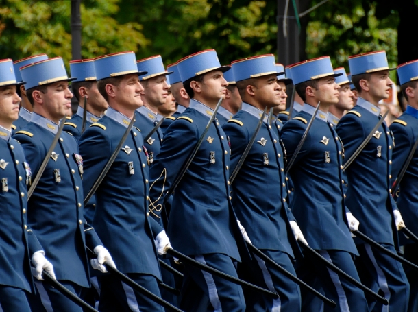 """French military academy cadets during a military parade on the Champs-&Eacute;lys&eacute;es, in Paris, France, July 14, 2007, <a href=""""https://commons.wikimedia.org/wiki/File:EMIA_Bastille_Day_2007.jpg"""">photo</a> by Marie-Lan Nguyen/<a href=""""https://creativecommons.org/licenses/by/2.5/deed.en"""">CC BY 2.5</a>"""