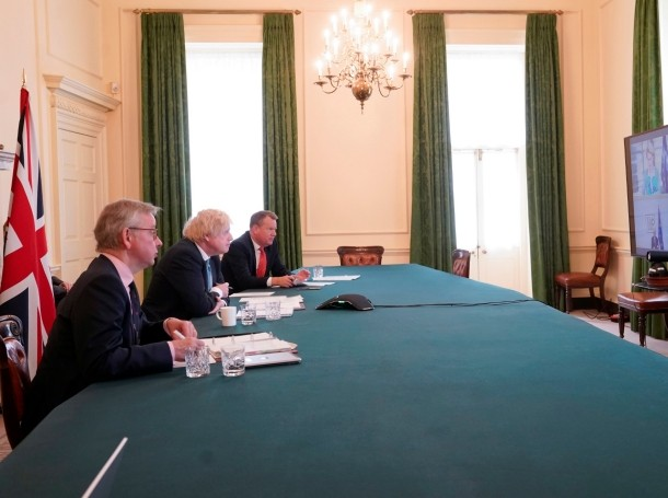 British Prime Minister Boris Johnson (center) speaks in a videoconference with the heads of the European Union in London, UK, June 15, 2020, photo by Andrew Parsons/No10 Downing Street/Reuters