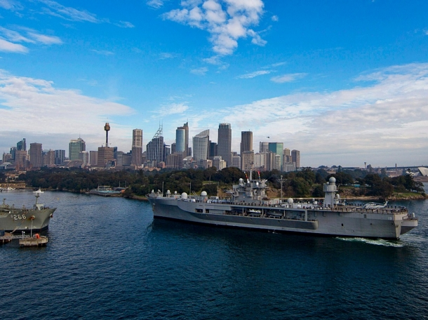 The U.S. 7th Fleet amphibious command ship USS Blue Ridge (LCC 19) approaches the Royal Australian Navy's Fleet Base East on Garden Island in Sydney July 15, 2013, U.S. Navy Photo