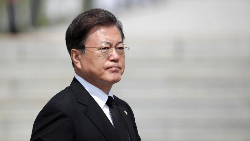 South Korean President Moon Jae-in arrives for a Memorial Day ceremony at the national cemetery in Daejeon, South Korea, June 6, 2020, photo by Lee Jin-man/Pool via Reuters