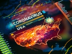 Digital display showing a map of the United States with areas of COVID-19 and a virus rendering, photo by da-kuk/Getty Images